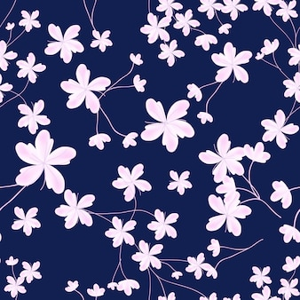 Spring sreamless pattern with pink cherry blossom