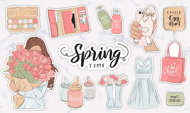 Spring stickers collection with modern female fashion objects and accessories