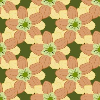 밝은 오렌지색 말미잘 새싹이 인쇄된 봄 스타일의 매끄러운 패턴입니다. 녹색 배경입니다. 꽃 배경입니다. 계절 섬유 인쇄, 직물, 배너, 배경 및 배경 화면에 대한 벡터 일러스트 레이 션.