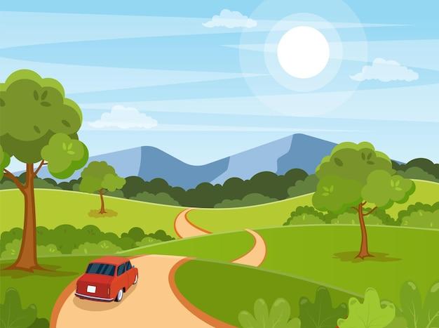 봄, 여름 만화 도로에 자동차 풍경
