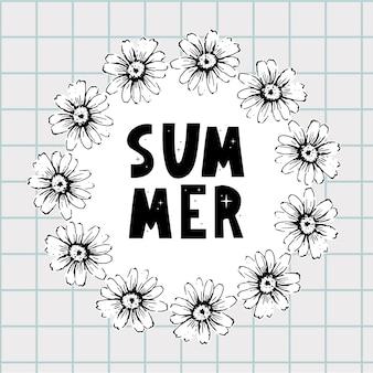 봄 여름 카모마일 꽃 프레임 구성 밝은 봄 배경 디자인 벡터 크기 조정