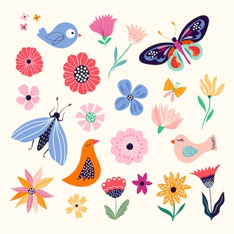 Spring/summer collection with seasonal elements, flowers, butterflies and birds
