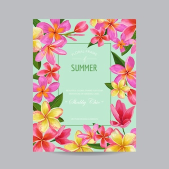 Spring and summer floral frame flowers