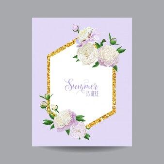 Spring and summer floral golden frame