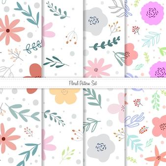 Spring summer floral pattern set