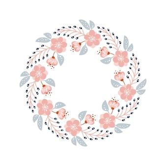 Spring and summer flower herb wreath scandinavian. flat abstract vector garden frame, woman day