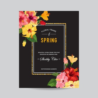 Spring and summer greeting card with frame. floral design