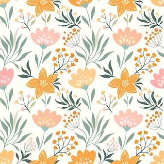 Весна, лето бесшовные модели с разными цветами и растениями