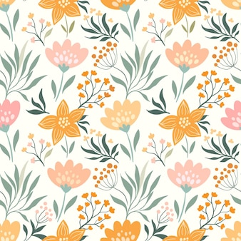 Spring, summer seamless pattern with different flowers and plants