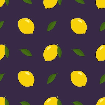 Spring and summer seamless pattern with lemon and slices on black