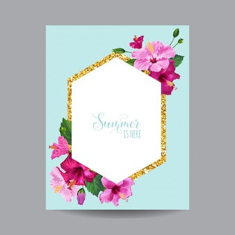 Spring and summer tropical floral frame