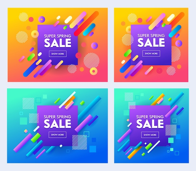Spring super sale poster set with color design on blue and orange background. bright and stylish promotion concept for online shop flyer or banner. creative material flat cartoon vector illustration