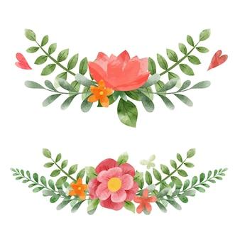 春の対称的な抽象的な花の花束。小さな花の要素。手描きの水彩イラスト。