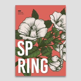 Spring template with flowers concept