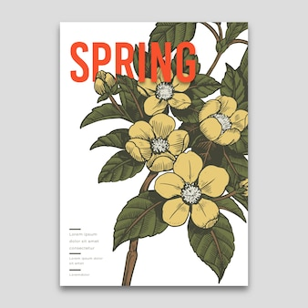 Spring template with flowers