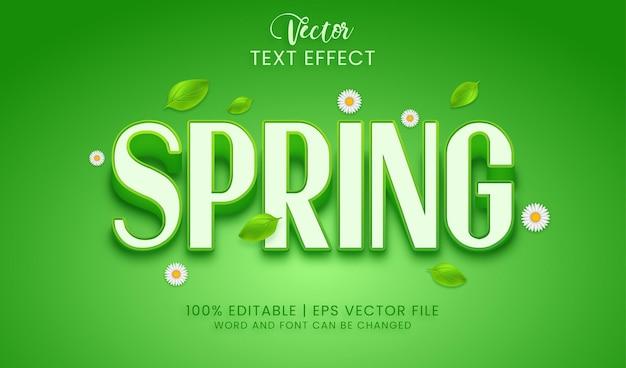 Весенний текстовый эффект с листьями