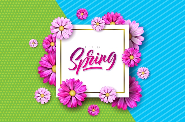 Spring text. floral design template with typography letter