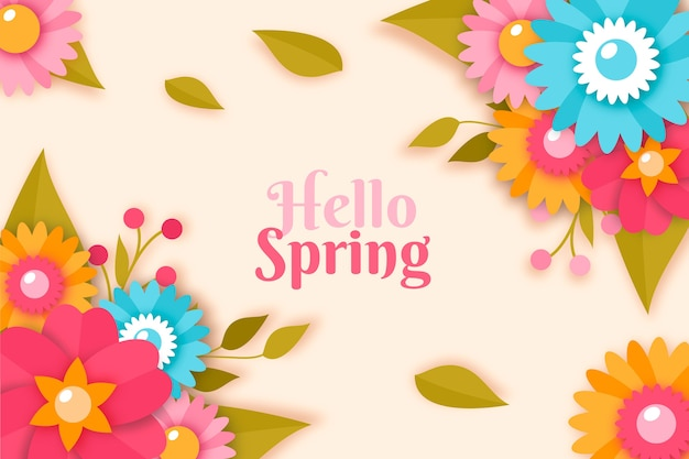 Spring theme for background in colorful paper style