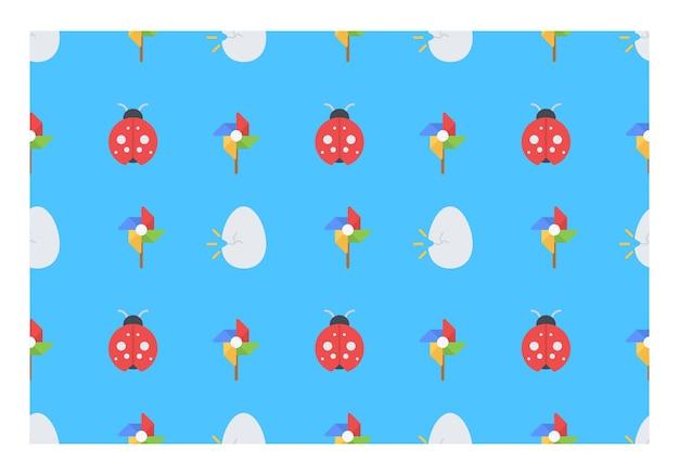 Spring themed seamless pattern vector illustration design