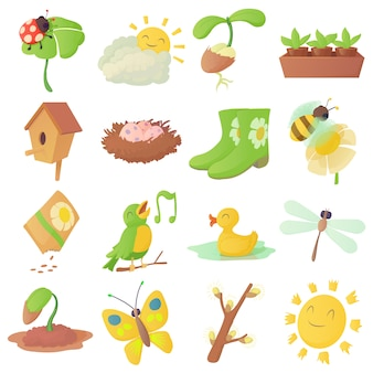 Spring things icons set