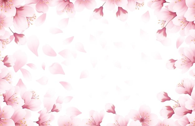 Spring time beautiful background with spring blooming cherry blossoms. sakura flying petals isolated on white background. vector illustration eps10