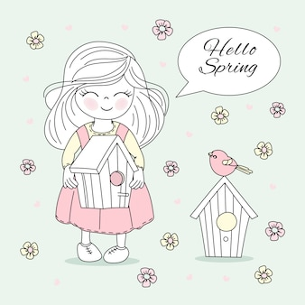Spring time bloom nature season vector illustration set