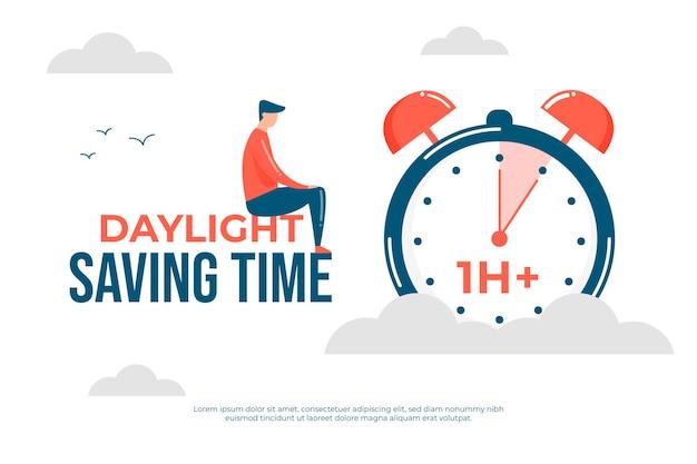Иллюстрация изменения времени весны с часами и человеком
