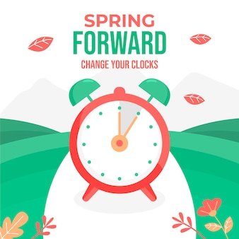 Spring time change illustration with clock
