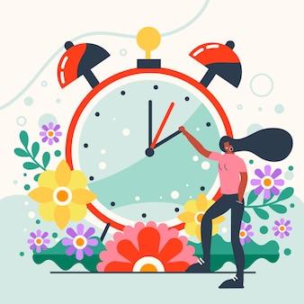 女性と時計の春時間変更イラスト