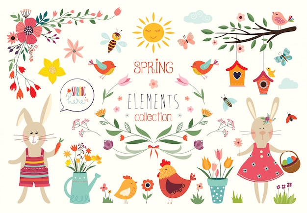 Spring time collection with decorative hand drawn elements and floral arrangements, vector design