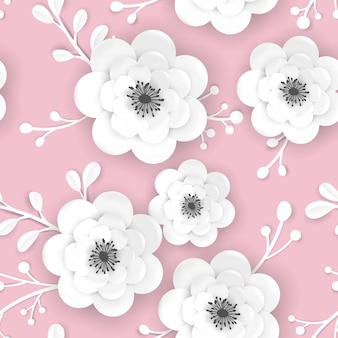 Весеннее время цветочные фон с цветами 3d papercut. бесшовный узор с оригами из бумаги вырезать цветок дизайн для ткани, обои для печати. векторная иллюстрация