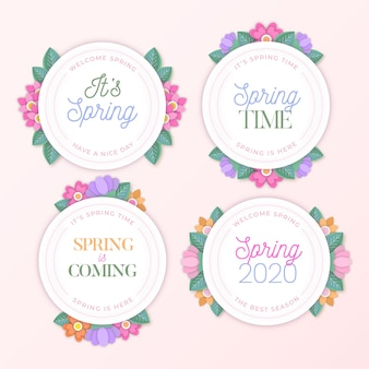 Spring time floral badges in flat design