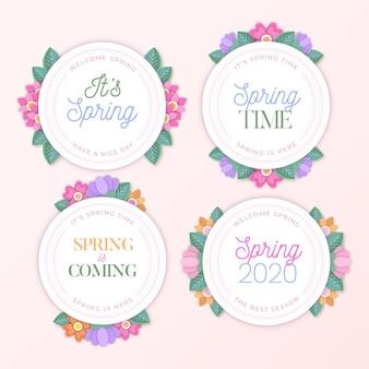 フラットなデザインの春時間花バッジ