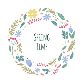 春の時間。花が咲く、庭の牧草地の植物の背景。ブライダル装飾、孤立した花のベクトルバナー。春の花、花、装飾咲く花びらのイラスト