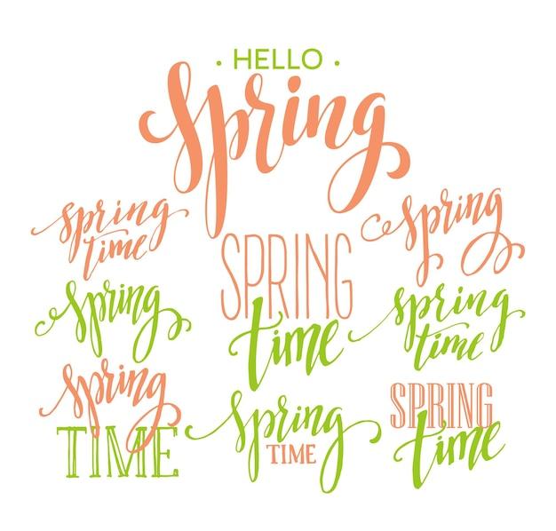 봄 시간, 안녕하세요 봄 글자 세트. 삽화