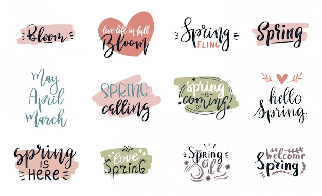 Spring time lettering greeting cards set special springtime sale typography poster in pink, green and white colors  illustration. spring or summer time handmade text quote