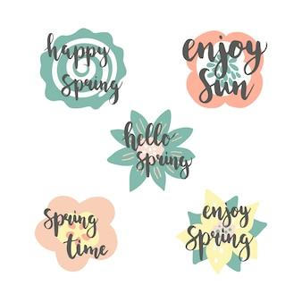 カラフルな花の背景と春の時間レタリング。