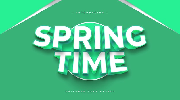 Spring time text in white and green with 3d embossed effect. editable text effect