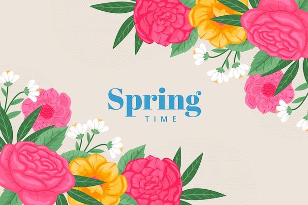 꽃과 함께 봄 시간 벽지