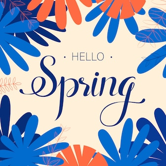 Spring time wording with hand drawn flowers and watercolor spots on white background.