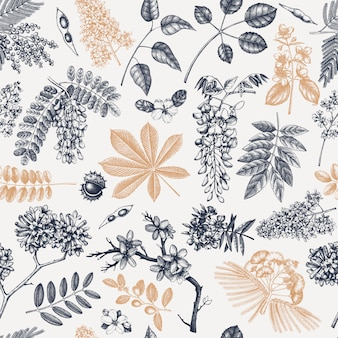 Spring trees in flowers seamless pattern. hand drawn blooming plant background. vintage flower, leaf, branch, tree sketches backdrop. spring banner, wrapping paper, textile, fabric.