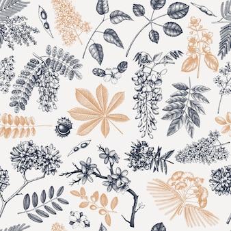 花のシームレスなパターンで春の木。手描きの咲く植物の背景。ヴィンテージの花、葉、枝、木のスケッチの背景。春のバナー、包装紙、繊維、布。