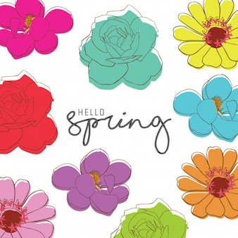 SPRING TYPOGRAPHY COLORFUL LINE ART FLOWER BACKGROUND