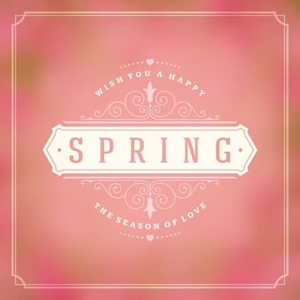 Spring typography quote label for greeting card.