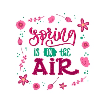 Spring typography with colorful decoration