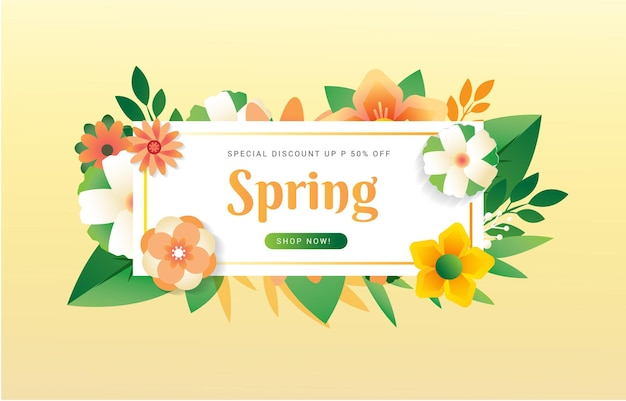 Spring typography with flowers bucket