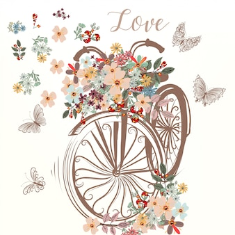 Spring vector cute fake hand drawn bicycle