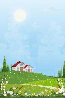 農家と晴れた日の明るい光のある春の村畑の夏の風景