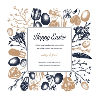 Spring vintage . easter background with blooming flowers, bird feathers, eggs and floral decorations. spring colored  illustration. easter card, invitation or banner template.