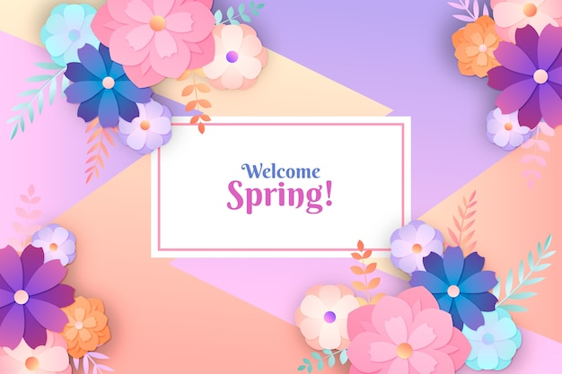 Spring wallpaper in colorful paper style